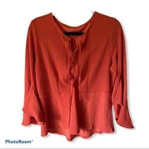 by Chico's Orange Tie Front Bell Sleeve Top Sz 1